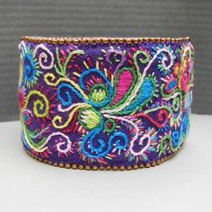 Purple tapestry embroidery cuff