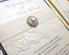 Convites de casamento com pérolas