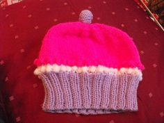 Cupcake hat handknitted, any colours, birth to 2years, made to order