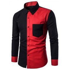Designer Slim Fit Formal Casual Stitching Chest Pocket Dress Shirt for Men is hot sale at NewChic, Buy best Designer Slim Fit Formal Casual Stitching Chest Pocket Dress Shirt for Men here now! Shirt Sleeves, Long Sleeve Shirts, Mens Shirts Online, Men Online, Fitness Video, Red Shirt, Shirt Style, Casual Shirts, Formal Shirts