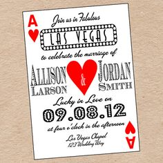 Playing Card Wedding Save the Date or Invitation by Decorable Designs!