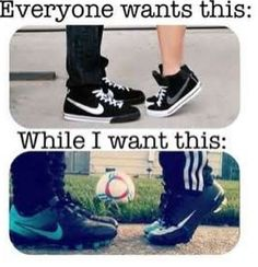 But my man wears baseball cleats, and I am good with that! Mine wears Football cleats and thats perfectly fine Girls Soccer, Play Soccer, Football Soccer, Soccer Stuff, Cute Soccer Couples, Soccer Girl Quotes, Soccer Ball, Funny Sports Quotes, Soccer Referee