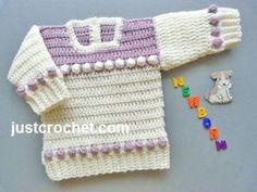 Free baby crochet pattern for newborn sweater http://www.justcrochet.com/newborn-baby-sweater-usa.html #justcrochet: