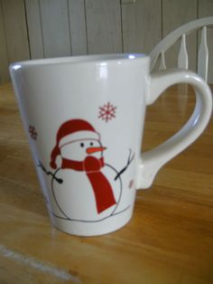 Christmas Snowman Mug Cup Classic Ceramics California Pantry Holiday Snowflakes