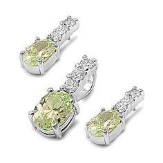 Cressida's Oval Cut Peridot CZ Earrings and Necklace Set