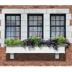 Mayne W x H White Pvc Vinyl Hanging Self Watering Window Box at Lowe's. Give your windows a charming, classic East Coast feel with the traditional style of Mayne's Yorkshire Window Box. Wood Window Boxes, Window Box Flowers, Wood Windows, Garden Windows, Front Windows, House Windows, Window Frames, Window Ideas, Plastic Windows