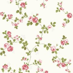 Luxury Shabby Chic Vintage Pink Floral Roses Trail Kitch Style Cream