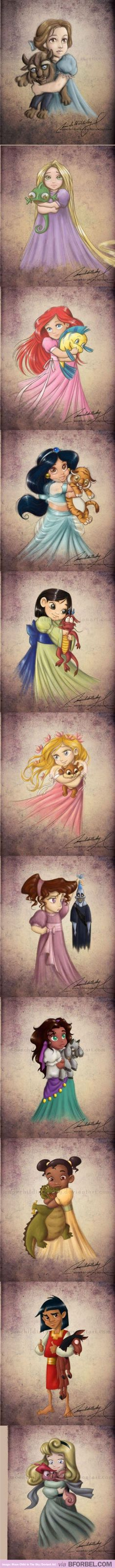 Baby Disney Princesses Holding Stuffed Animals Of Their Supporting Characters…