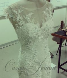 Wedding gown by designer Casey Jeanne, South Africa. Bodice created entirely by hand with four different beautiful laces Designer Wedding Dresses, Wedding Gowns, Bodice, Wedding Stuff, Wedding Ideas, Couture, Bridal, Lace, South Africa