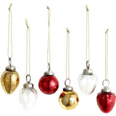 H&M 6-pack Christmas Ornaments $7.99 ($7.99) ❤ liked on Polyvore featuring home, home decor, holiday decorations, red christmas tree ornaments, red christmas ornaments and red home decor
