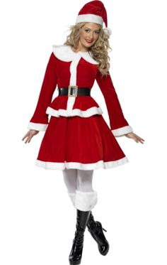 Be the spirit of Christmas on the big day!  The Deluxe Miss Santa Costume includes a red crushed velvet effect jacket with a white faux fur trim, a matching skirt and a black belt. Also included is a red and white Santa hat and a white muff. Pair with some boots for a night out or your slippers for a nice Christmas dinner at home.