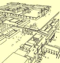 A historical reconstruction of a map depicting the lost city of Akhenaten. (Now the ruins of Amarna.)