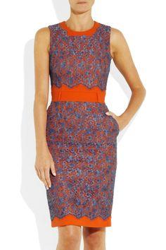 Ingrid color-block cotton-crepe and lace dress