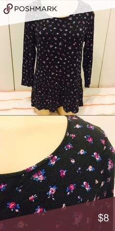 Black Floral Peplum Top Route 66 peplum top in black with fuschia and blue flowers. Size medium. In good condition but has some fading from washing. Route 66 Tops