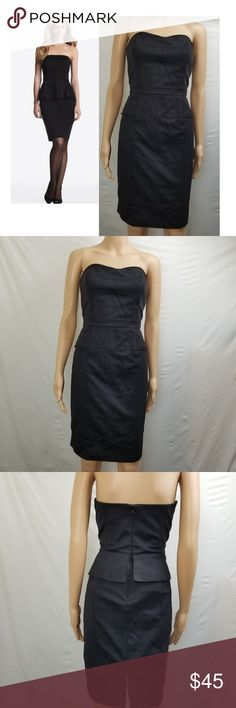 """WHBM Dress Peplum Cocktail Strapless Ribbed Black WHITE HOUSE BLACK MARKET Dress Peplum Cocktail Strapless Ribbed Size 6 Black  Great Condition!  Please see pictures for additional details.  Measurements (all approximate with garment laying flat)  Size: 6 Bust: 16""""  pit-pit without increments Waistline: 14.5"""" side-side Hips: 19.5"""" side-side fullest part Length: 29.5""""  Ship within 24 hours  Please note: All items are cross-posted, if they sell on another platform I will delete the Posh…"""