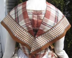 """back: 1860s Brown Plaid Silk Dress Partial 2nd Bodice Pelerine or Fichu Pagoda Sleeves   eBay seller mrandmrsciv; fichu trim of 3.25"""" ribbons; front hook & eye closure; boned in two darts on either side, brown cotton lining, sleeves lined w/ white cotton, faced w/ pale pink silk; evening bodice - back hook & eye closure"""