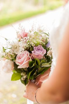 soft pastel bridal bouquet  |  Paul and Ann's pretty barn wedding at Larchfield | www.onefabday.com