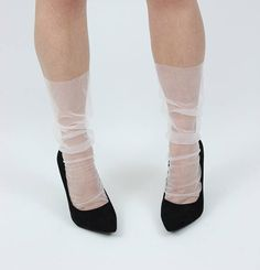 Sexy Seam sheer fashion socks ivory white tulle socks
