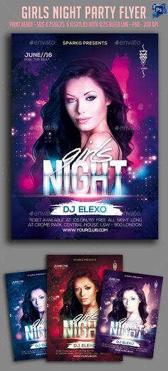 Girls Night Party Flyer Template #design Download: http://graphicriver.net/item/girls-night-party-flyer/12277482?ref=ksioks