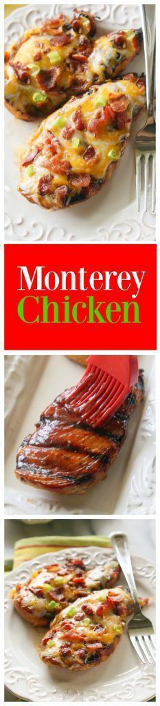 Monterey Chicken  topped with bbq sauce bacon and green onions. Has so much flavor and is such an easy dinner.