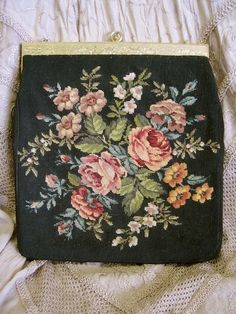 Petit Point Purse: Vintage Needlepoint Black with Roses Large Size Shabby Chic Repurpose or Touch up Vintage Purses, Vintage Bags, Vintage Handbags, Diy Clutch, Silver Purses, Carpet Bag, Tapestry Bag, Beaded Purses, How To Make Handbags