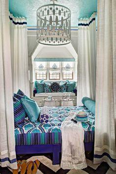 Bright yet Sophisticated Bedroom Design featuring Robert Allen Cobalt and Turquoise Fabrics - Redelman Fabrics Sophisticated Bedroom, House Of Turquoise, Beach House Decor, Home Decor, Bedroom Styles, Contemporary Bedroom, Dream Bedroom, Master Bedroom, Beautiful Bedrooms