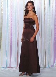 A-line Strapless Beaded Satin Chiffon Bridesmaid Dress
