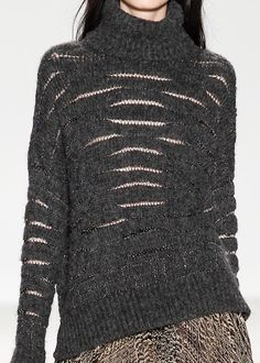 Dark grey sweater with stitched slits; contemporary knitwear details // Nanette Lepore Fall 2014