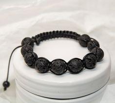 Black lava stone shamballa unisex bracelet by CrazySmykker on Etsy, kr150.00