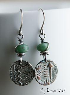 Silver Tribal Earrings Oxidized Fine Silver African от MyBrownWren