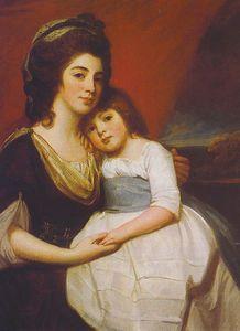 George Romney - A Portrait of Lady Georgiana Smyth and Child