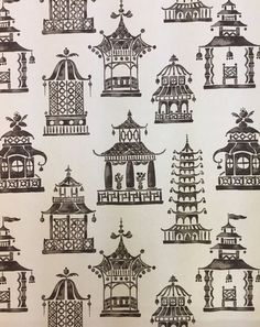 A ming pagoda patterned fabric that is in a charcoal and white color palette, and it also comes in pink, green, blue, and natural and white. This fabric is a medium weight and is suitable for upholstery, window treatments, bedding, and pillows.