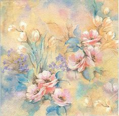 Shop for on Etsy, the place to express your creativity through the buying and selling of handmade and vintage goods. Decoupage Glass, Paper Napkins For Decoupage, Pastel Roses, Pink Flowers, Party Napkins, Pattern Paper, Paper Patterns, Decoration, Paper Art