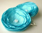 Flower Hair Clip Tiffany Blue Wedding Flower by SarasBoutique