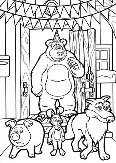 Masha And The Bear Coloring Pages 1