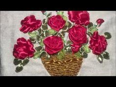 Роза вышитая атласной лентой / Rose embroidered with satin ribbon - YouTube