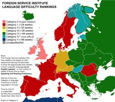 A Fascinating Foreign Service Map Ranking Language Difficulty by Time Required to Learn - Fullact Trending Stories With The Laugh Mixture Learning A Second Language, Learn A New Language, Foreign Language, Learning Time, French Language, Service Map, European Languages, European Countries, European Map