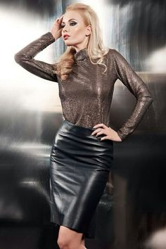 Celebrities in HOT Leather Outfit - Djuff Black Leather Skirts, Leather Dresses, Sexy Skirt, Dress Skirt, Hobble Skirt, Satin Bluse, Leder Outfits, Hot Outfits, Leather Fashion