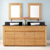 "72"" Bastian Teak Double Vanity for Semi-Recessed Sinks"