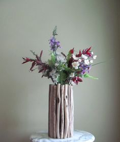Tall Thin Driftwood Candle / Vase Centerpiece by DriftingConcepts, $42.50
