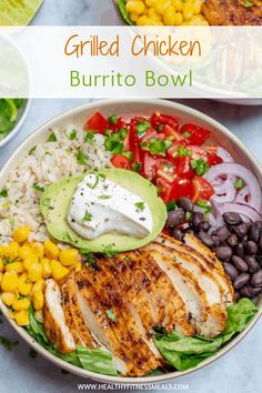 This Easy Chicken Burrito Bowl recipe is loaded with juicy grilled chicken corn beans and other fun toppings. They are healthy easy to make filling and better than Chicken Burritos from chipotle. Healthy Meal Prep, Healthy Dinner Recipes, Mexican Food Recipes, Cooking Recipes, Mexican Bowl Recipe, Healthy Filling Meals, Yummy Healthy Food, Healthy Supper Ideas, Health Food Recipes
