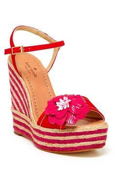 Kate Spade Beige Lainey Sandal Beige/Red Wedges Size: 9  40% off Retail WAS $278.00 NOW $165.00 free shippinbg!