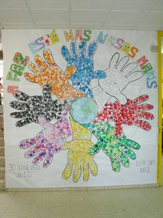 2018 Murales para 30 de Enero. Día Escolar de la Paz y la No Violencia - Imagenes Educativas Peace Crafts, Harmony Day, Diy And Crafts, Arts And Crafts, School Images, School Bulletin Boards, English Lessons, Diagram, Map
