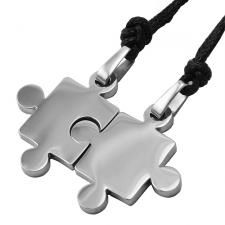 Stainless steel puzzle necklace.