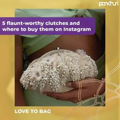 Keep Calm And Clutch On! Your festive appearance is incomplete until coordinated with a clutch, so here are 5 elegant clutches that you need to buy right away. . . Use #pankhuribride to get featured . . Shop at:  @lovetobag @blingtastic.jewel @lovetobag @bagrevolver @adwita_bags  #askpankhuri #bridalstylist #fashionstylist #clutchs #clutch #clutchbags #clutchbag #clutchpesta #indianweddings #weddings #festivals #ethnic #ethnicwear #clutchmasters #indianweddings #southindianweddings… South Indian Weddings, White Clutch, Designer Clutch, Fashion Stylist, Clutch Bag, Festive, Stylists