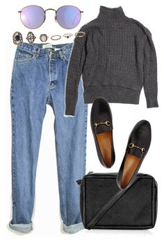 """""""Untitled #5414"""" by rachellouisewilliamson on Polyvore featuring LOFT, Topshop, Gucci, Ray-Ban and Charlotte Russe"""