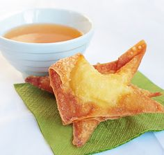 """Better Than Takeout"" Crab Rangoons. Ingredients:  8 oz cream cheese softened,  4 oz imitation crab meat,  1 chopped onion, 50 wonton wrappers --> vegan/low carb version you can use rice paper instead. Soften and cut into 4 quarters. oil for frying"