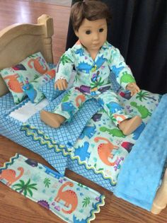 14 or 18 Inch Doll Bedding Boy Doll Clothes, Doll Clothes Patterns, Doll Crafts, Diy Doll, 18 Inch Boy Doll, Doll Bedding, Red And White Dress, Doll Beds, Baby Alive