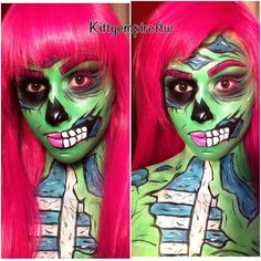 Zombie popart  see the process on snapchat: kittyempireftw  #cosmetology #makeup #mua #makeupartist #zombie #popart #popartzombie #comicstrip #halloween #halloweenmakeup by kittyempireftw