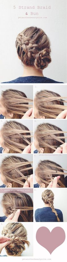 diy 5 strand braid and bun wedding hairstyles